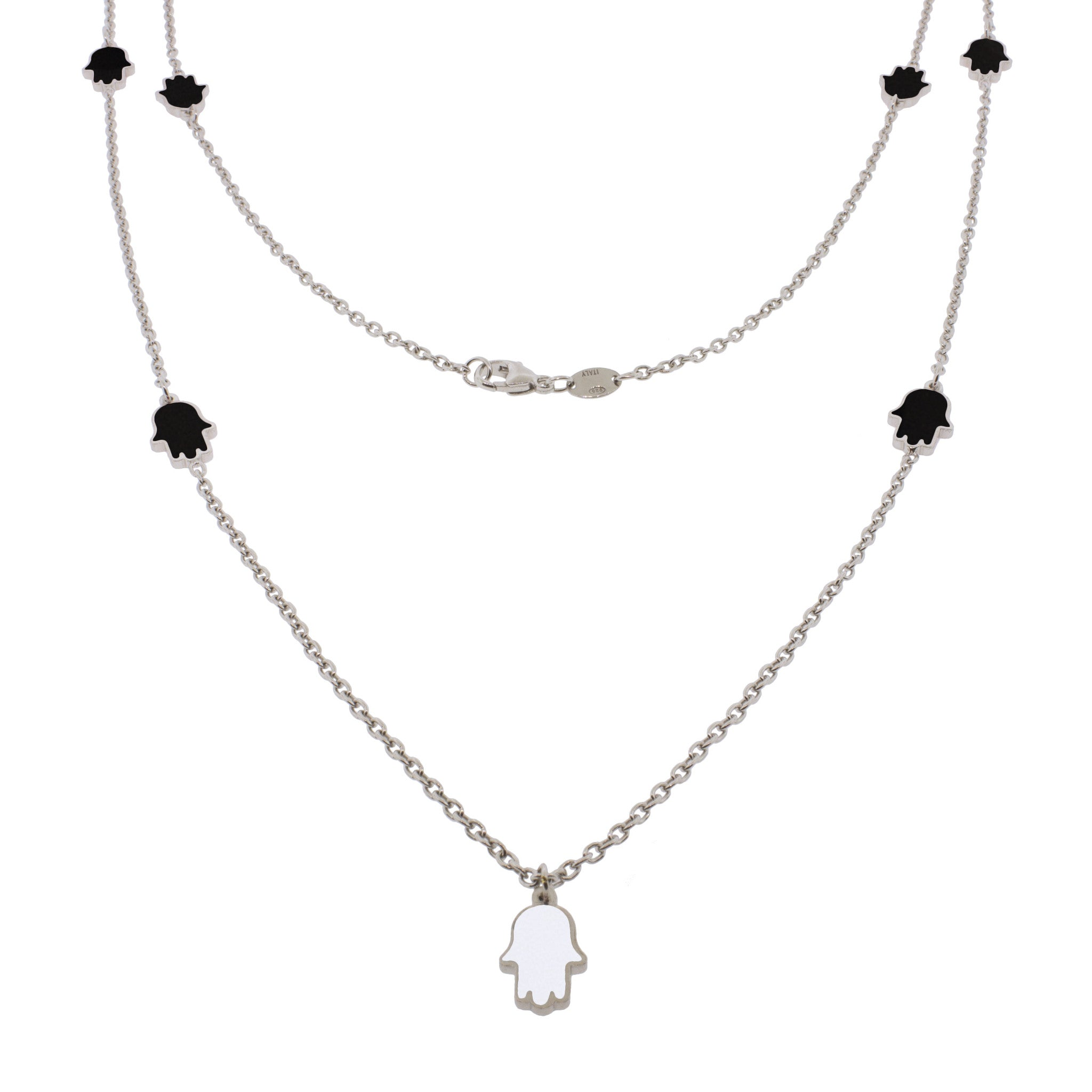 32-inch Touch of Luck Sterling Silver Necklace - Black