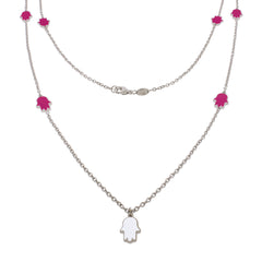 32-inch Touch of Luck Sterling Silver Necklace - Magenta