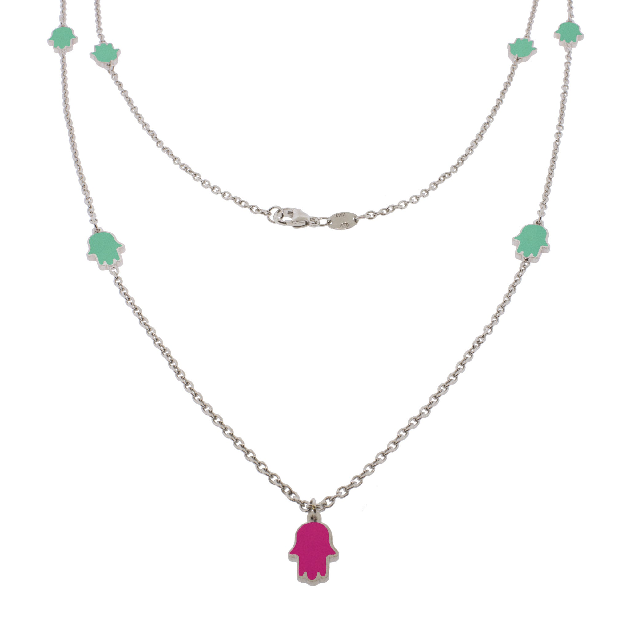 32-inch Touch of Luck Sterling Silver Necklace - Turquoise