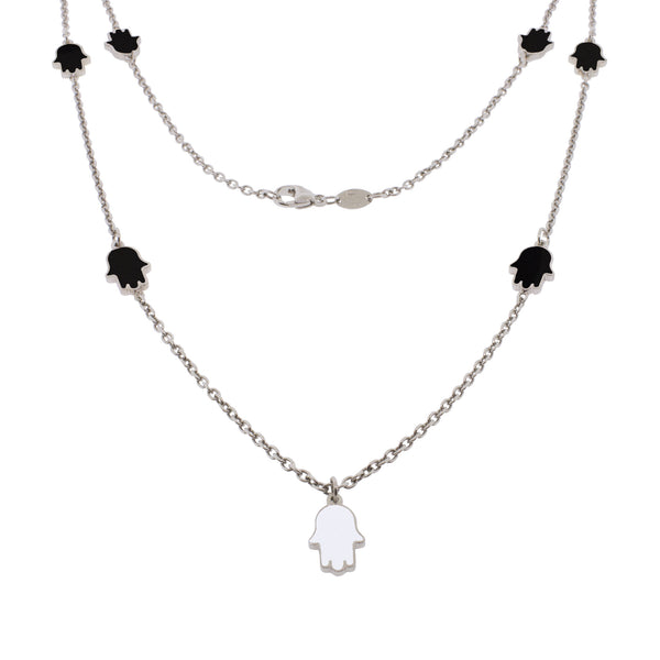 24-inch Touch of Luck Sterling Silver Necklace - Black