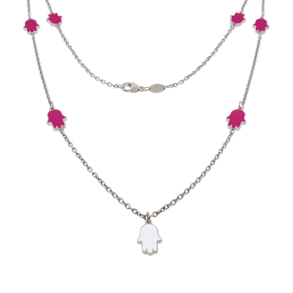 24-inch Touch of Luck Sterling Silver Necklace - Magenta