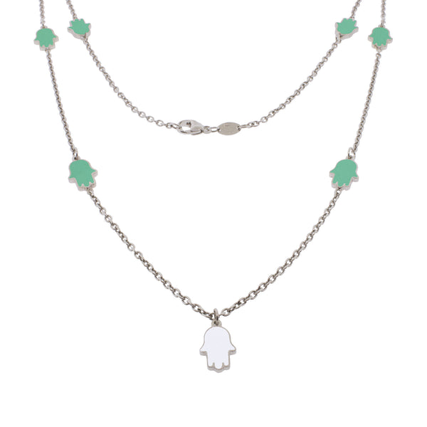 24-inch Touch of Luck Sterling Silver Necklace - Turquoise