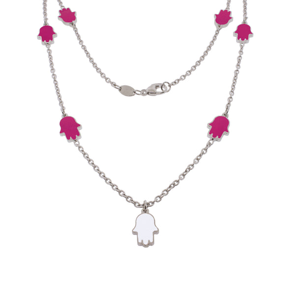 18-inch Touch of Luck Sterling Silver Necklace - Magenta