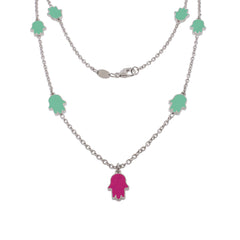 18-inch Touch of Luck Sterling Silver Necklace - Turquoise
