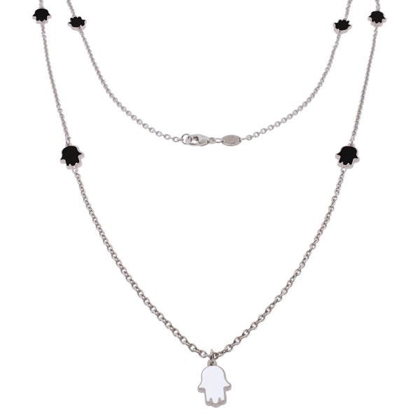 36-inch Touch of Luck Sterling Silver Necklace - Black