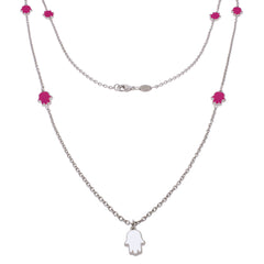 36-inch Touch of Luck Sterling Silver Necklace - Magenta