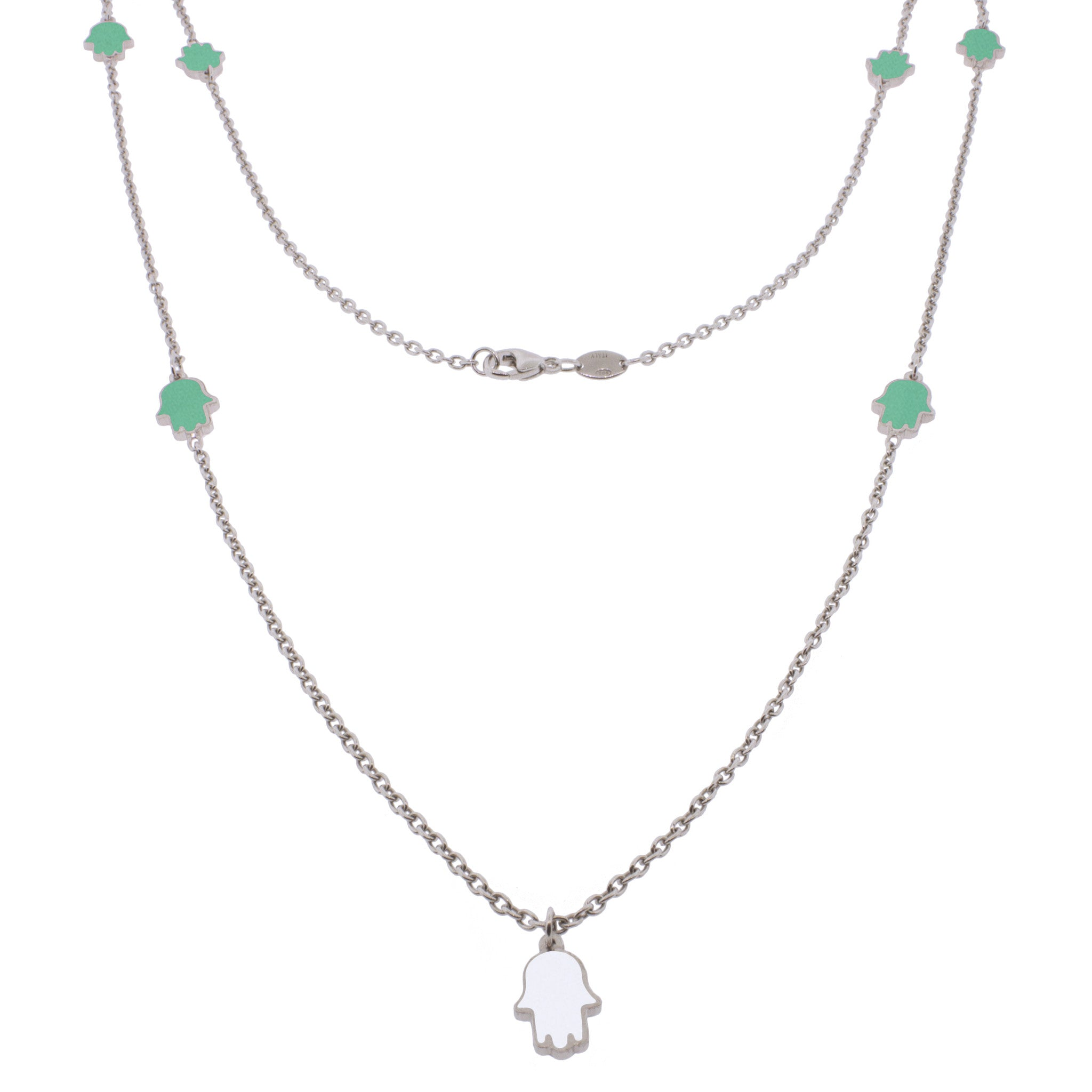 36-inch Touch of Luck Sterling Silver Necklace - Turquoise