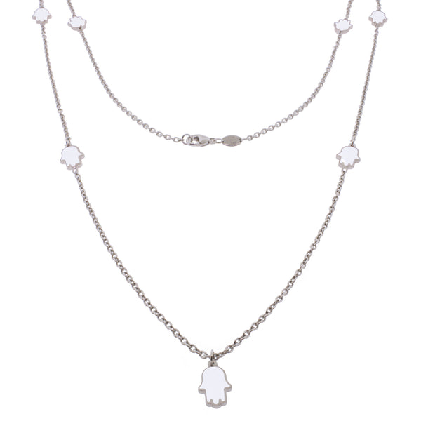 36-inch Touch of Luck Sterling Silver Necklace - White