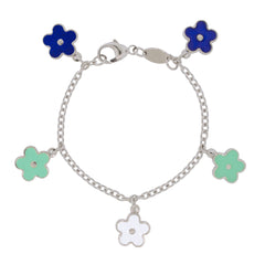 Smell the Flowers Sterling Silver Charm Bracelet