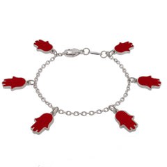 Lucky Hands Sterling Silver Bracelet - Red