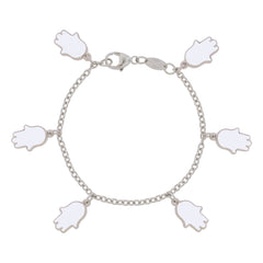 Lucky Hands Sterling Silver Bracelet - White
