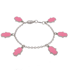 Lucky Hands Sterling Silver Bracelet - Pink