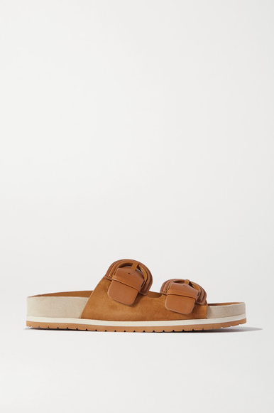 Vince - Glyn Suede & Leather Slides Tan