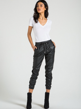 Load image into Gallery viewer, n:Philanthropy - Scarlett Vegan Leather Jogger - Black Cat