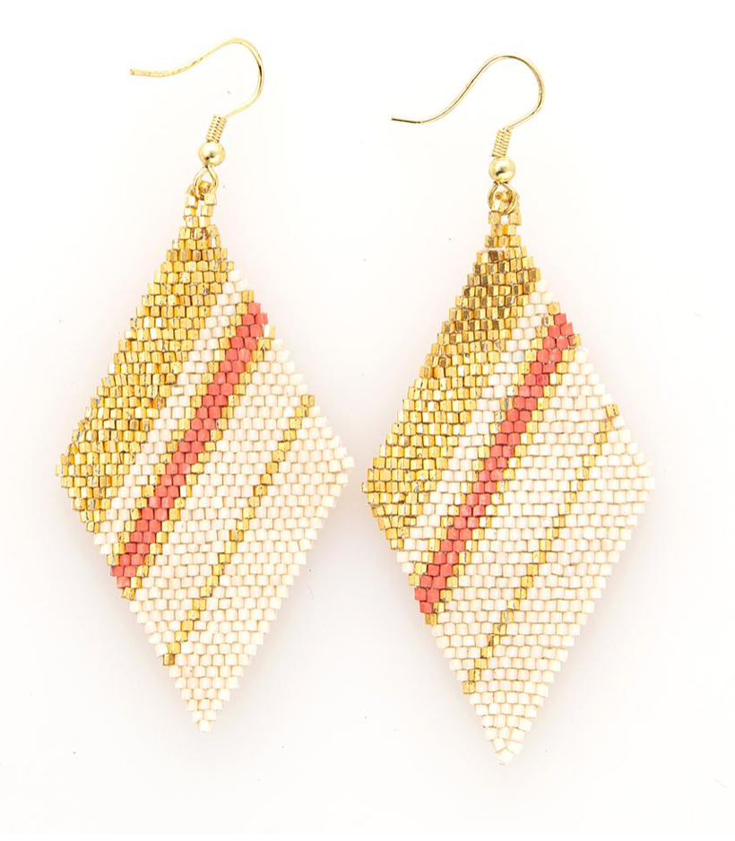 INK + ALLOY - Diamond luxe stripe earring- terra cotta/gold/ivory