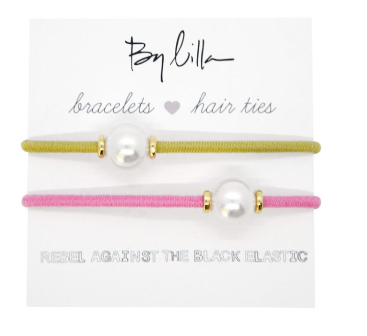 By Lilla - Halo Paradise Bracelets/Hair Ties 2-Pack - Pink/Yellow