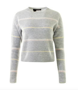 360 Cashmere - Bronte Sweater - Heather Grey/Honey Pink Multi