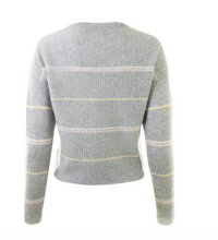 Load image into Gallery viewer, 360 Cashmere - Bronte Sweater - Heather Grey/Honey Pink Multi
