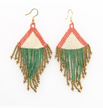 Load image into Gallery viewer, INK + ALLOY - Terra Cotta, Ivory, Emerald and Gold Fringe Earrings