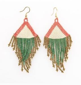 INK + ALLOY - Terra Cotta, Ivory, Emerald and Gold Fringe Earrings