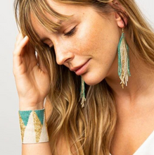 Load image into Gallery viewer, INK + ALLOY - Teal Ombre Fringe Earrings