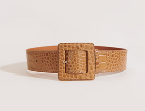 Veronica Beard - Corin Embossed Crocodile Belt - Tan