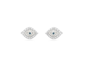 Adina Reyter - Super Tiny Pave Evil Eye Post Earrings - Sterling Silver