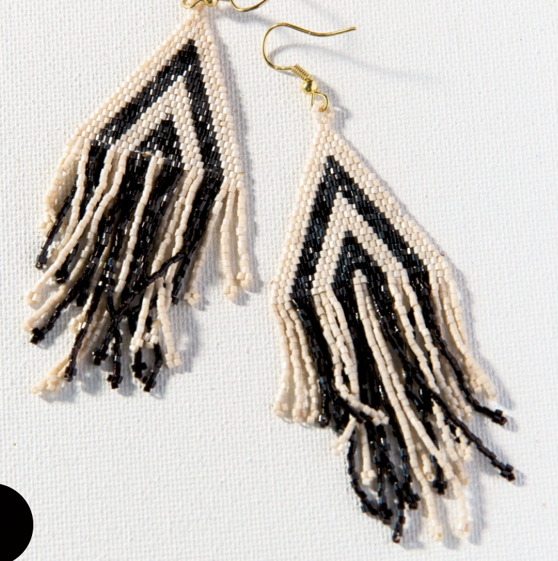 INK + ALLOY - Black/Ivory Stripe Luxe Fringe Earring
