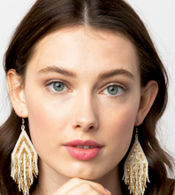 Load image into Gallery viewer, INK + ALLOY - Gold/Ivory Stripe Luxe Fringe Earring