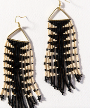 Load image into Gallery viewer, INK + ALLOY - Black/Ivory Arrow Fringe Earring