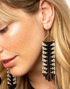 INK + ALLOY - Black/Ivory Arrow Fringe Earring