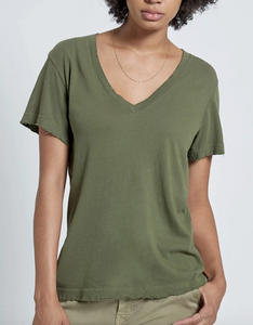 Current Elliott - The Perfect V Tee - Army Green with Destroy
