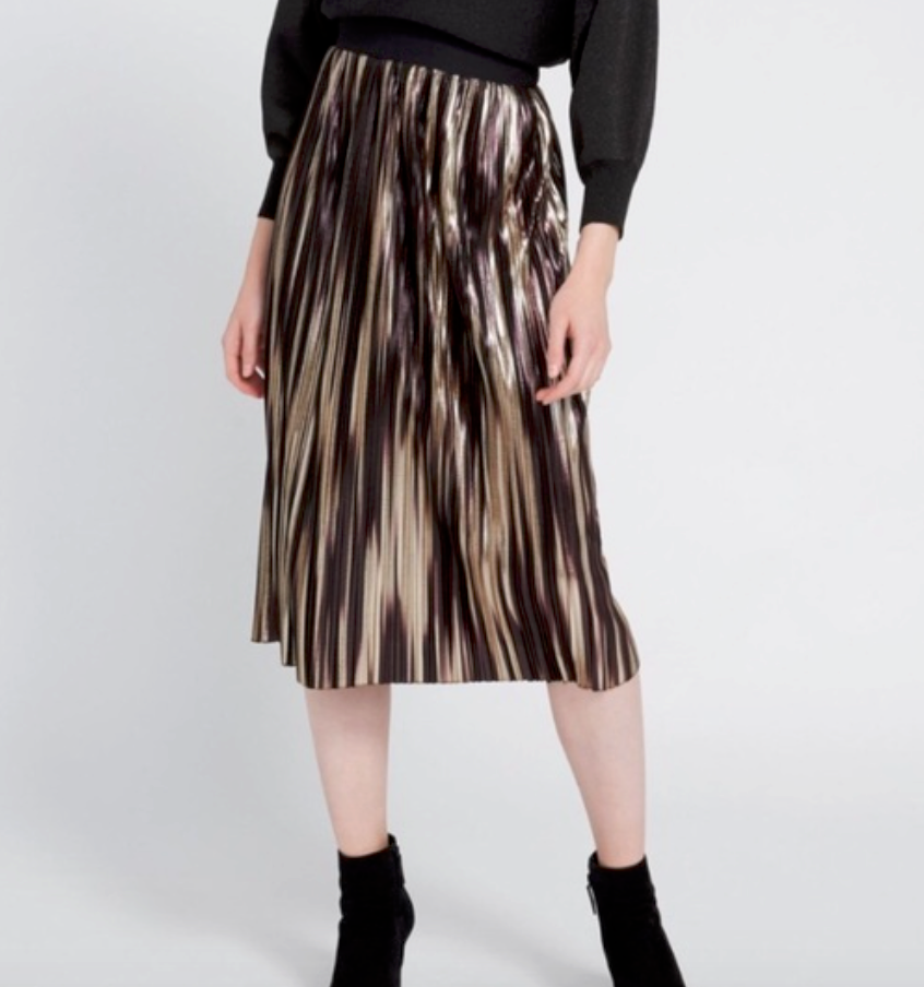 ALI - Mikaela Midlength Pleated Skirt #CC908M06308 Gold Multi