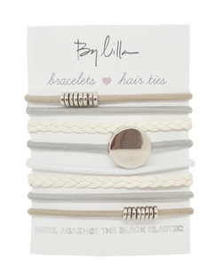 By Lilla - Stack of 8 bracelet/hair ties - Snow Flake