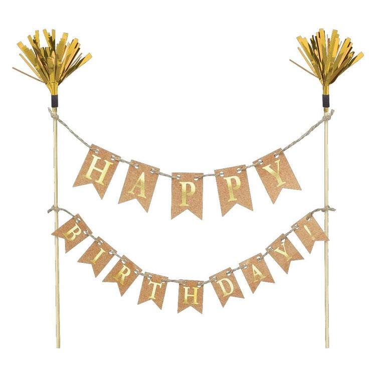 Gold Happy Birthday Banner Cake Pick Banner