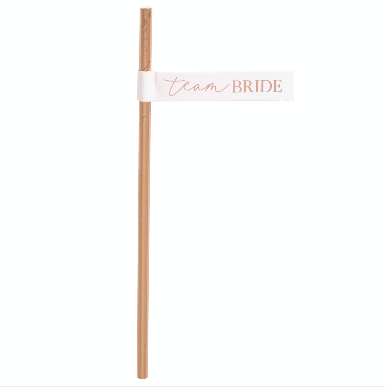 Rose Gold Team Bride Flag Straws