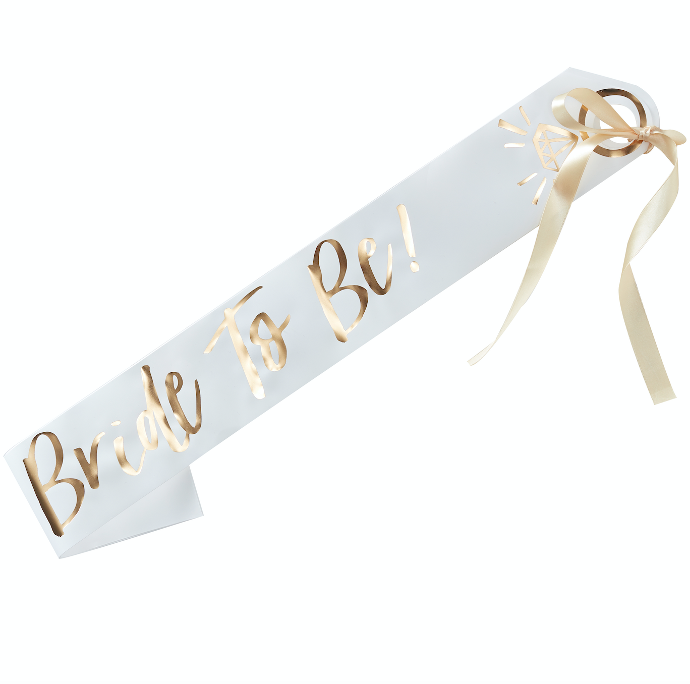 White & Gold Bride To Be Hen Party Sash