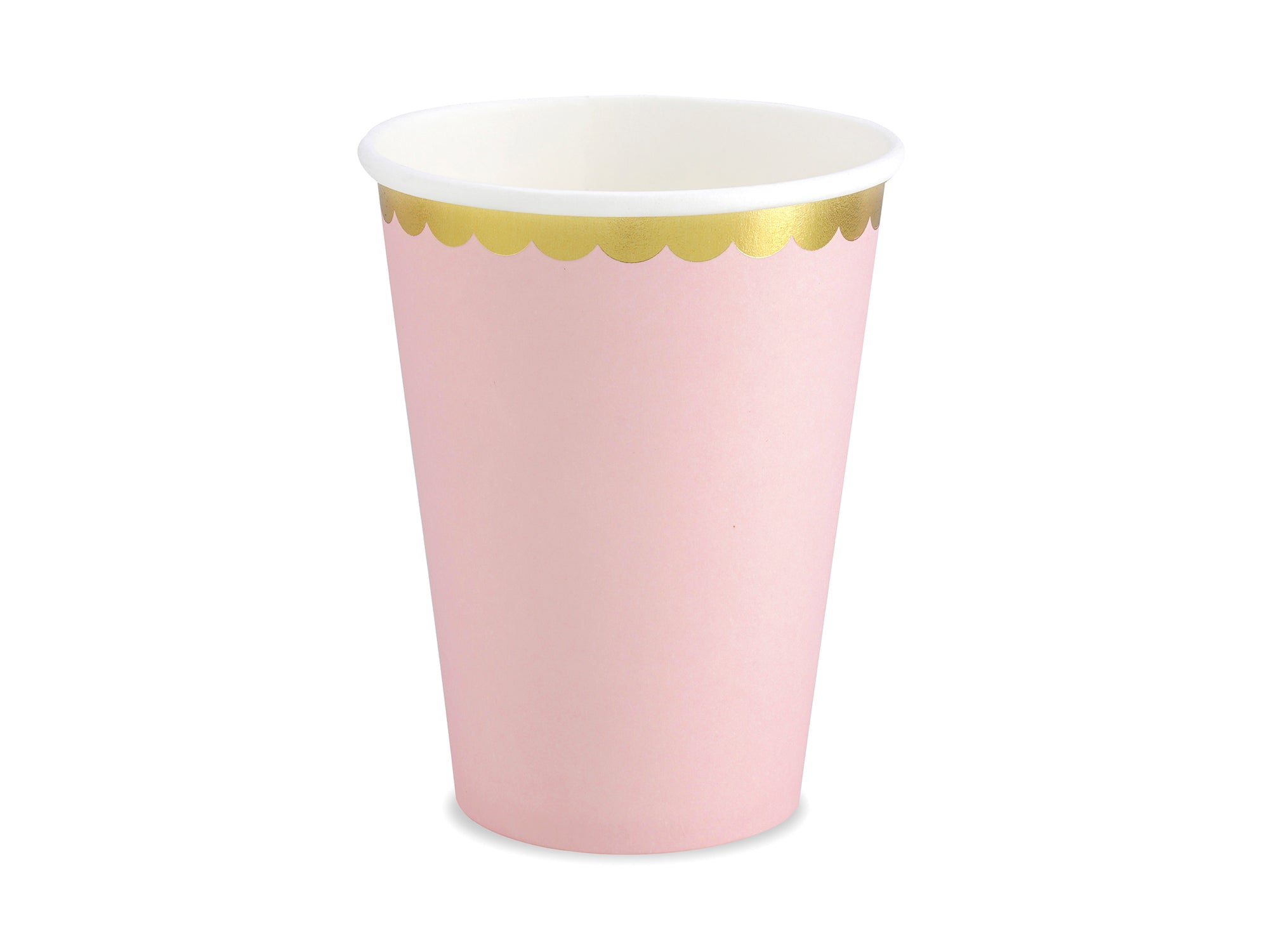 Light Pink Paper Cups Gold Edge