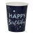 Iridescent Foiled Happy Birthday Paper Cups Stargazer
