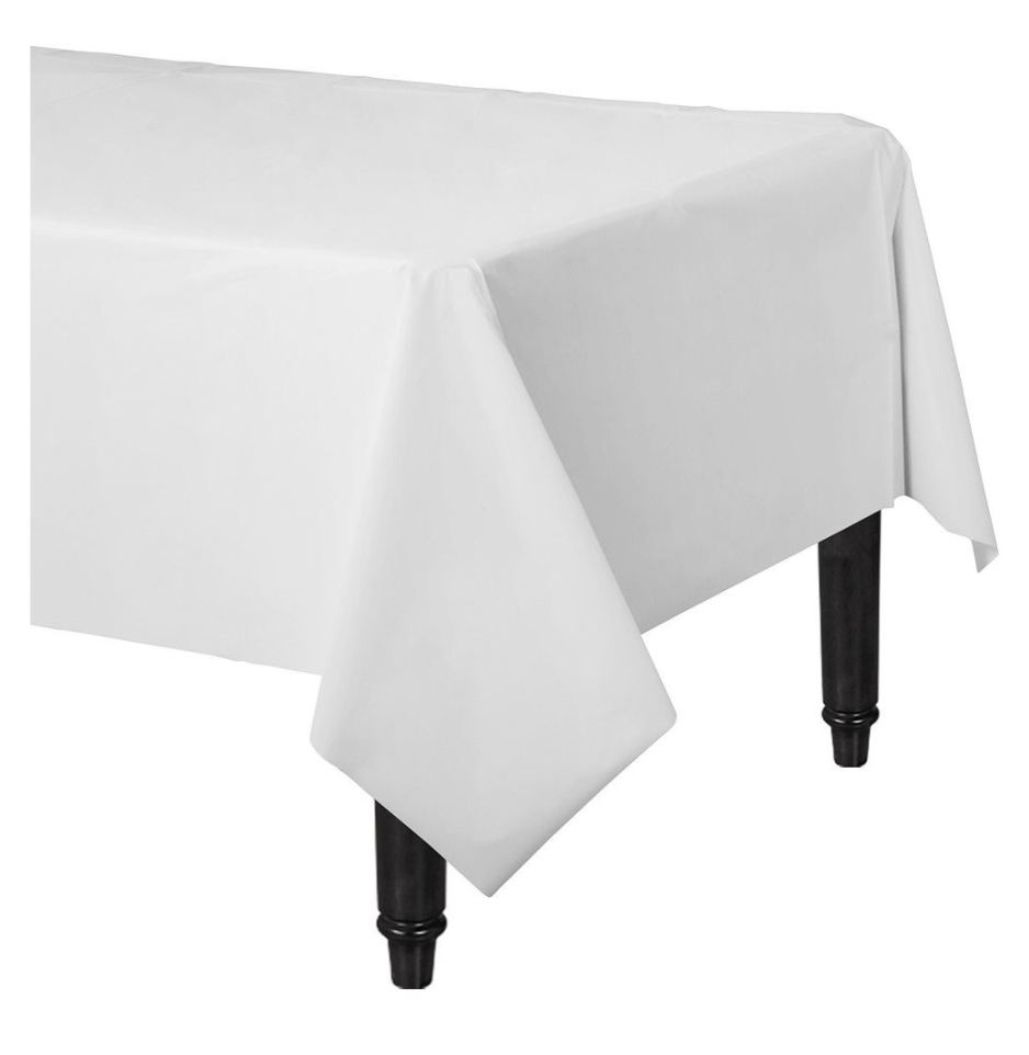 White Plastic Lined Paper Table Cover