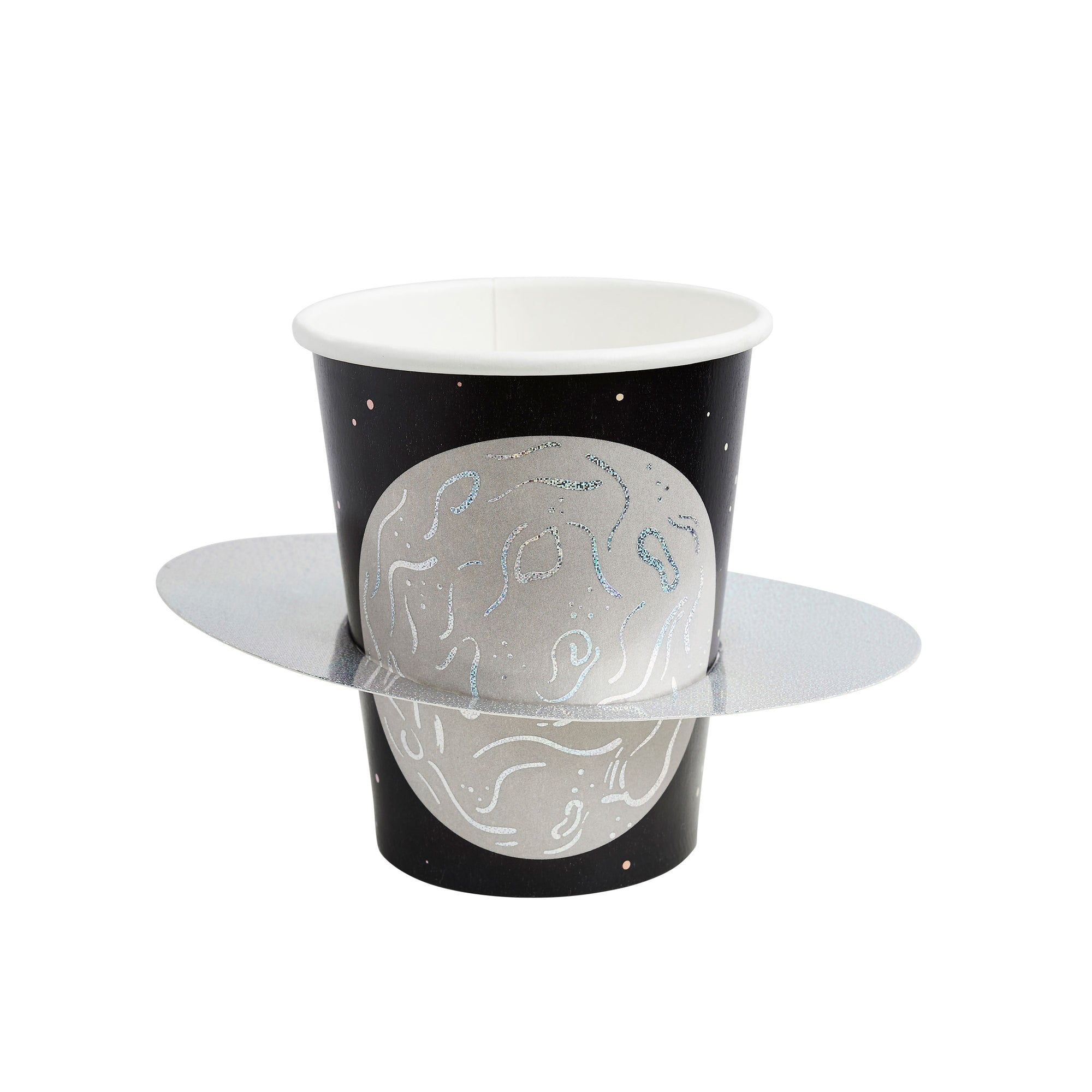 Iridescent Planet Paper Cups 3D Saturn