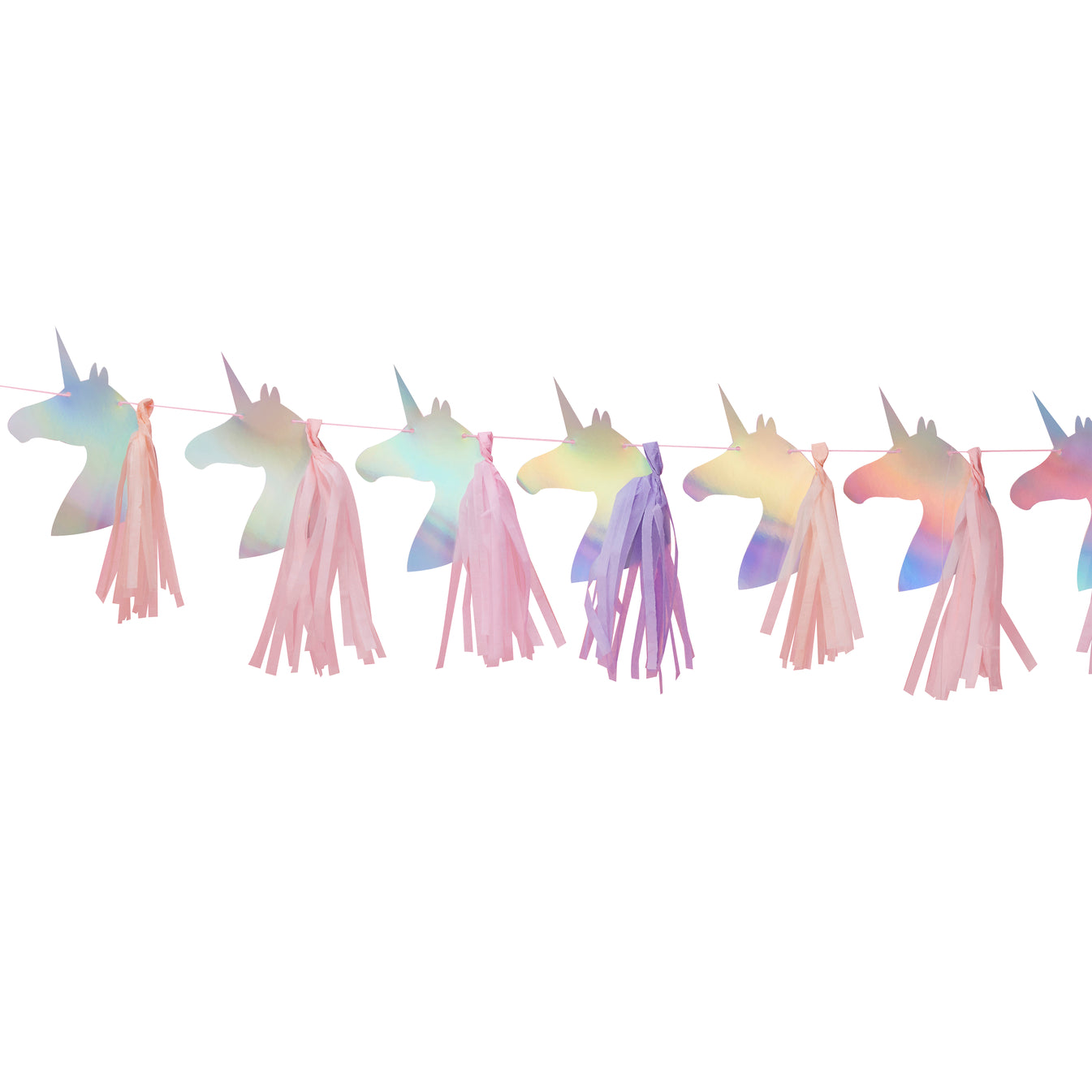 Iridescent Foiled Tassel Unicorn Bunting Garland