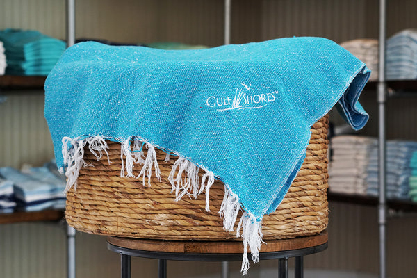 Gulf Shores Embroidered Blanket-Turquoise
