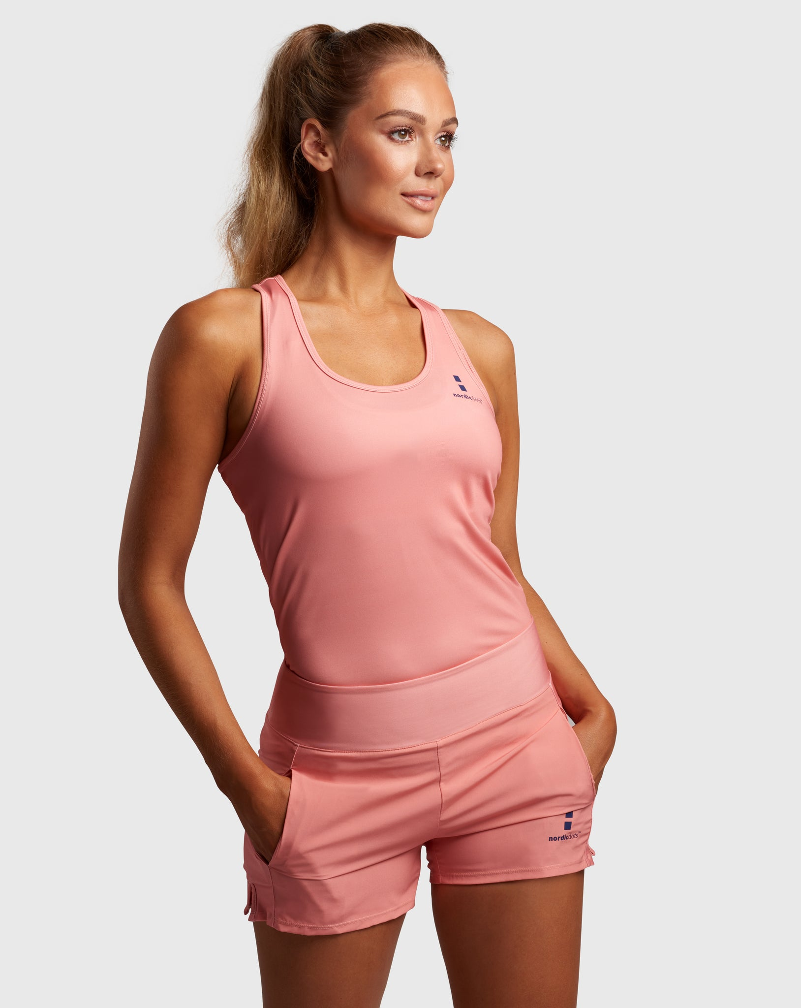nordicdots tennis tank-top coral