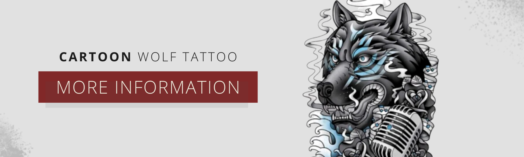 cartoon wolf temporary tattoo