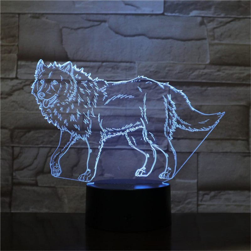 3D illusion lamp wolf