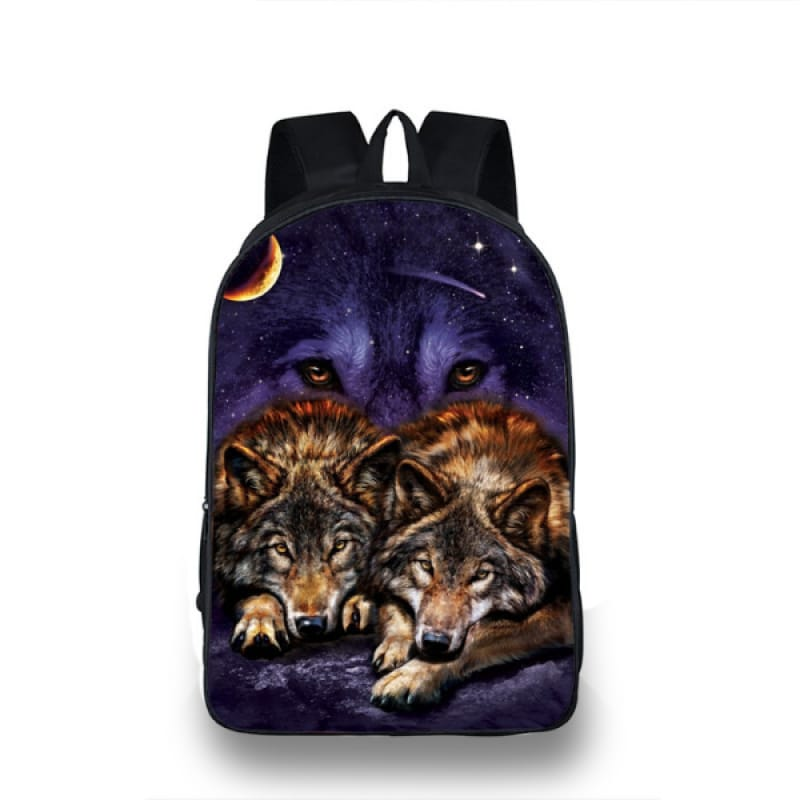 Backpack with Wolf Design