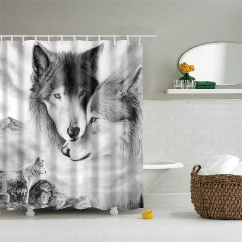 Black and white animal print shower curtain