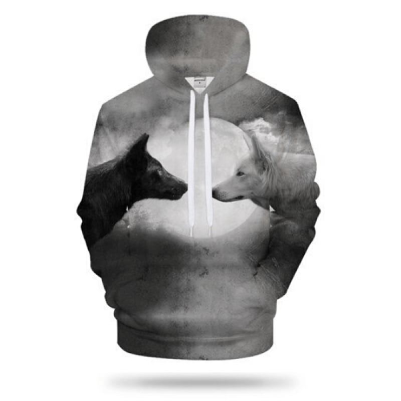 Black and White Wolf Hoodie