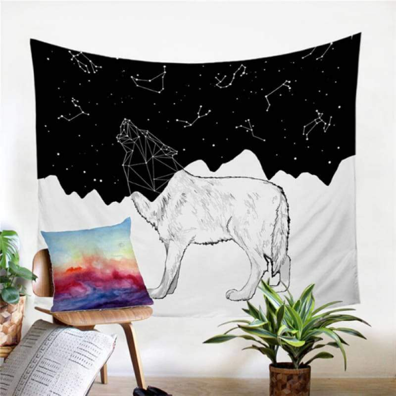 Black and white wolf tapestry
